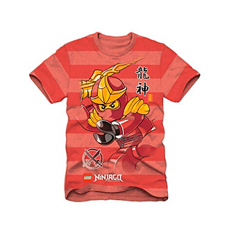 LEGO Boys' 4-7 Red Striped Short Sleeve Ninjago Tee Kid's