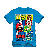 Super Mario Bros. Boys' 4-7 Blue Short Sleeve Multi-Character Box Tee