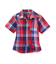 OshKosh B'Gosh® Boys' 4-7 Red/Navy Short Sleeve Large Plaid Woven