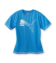 PUMA® Boys' 8-20 Blue Short Sleeve Cat Grid Tee