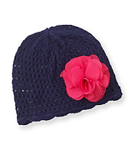 Carter's® Baby Girls' Navy Crochet Beanie with Flower