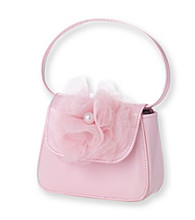 Nolan™ Girls' Pink Flap Bag with Faux Flower
