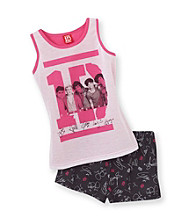 One Direction Girls' 4-14 Pink/Black Signature Pajama Set