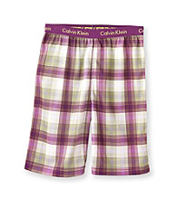 Calvin Klein Boys' 5-16 Purple/Green Plaid Pajama Shorts