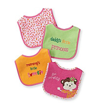 Cuddle Bear® Baby Girls' Assorted 4-pk. Monkey and Leopard Bibs