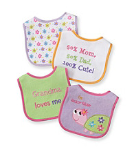 Cuddle Bear® Baby Girls' Pink 4-pk. Turtle and Flower Bibs