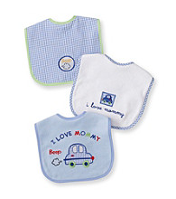 Cuddle Bear® Baby Boys' Blue 3-pk. Gingham and Car Bibs