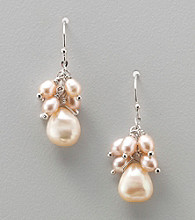 Genuine Freshwater Pearl Cluster Drop Earrings