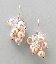 Genuine Freshwater Pearl & Amethyst Cluster Drop Earrings