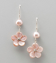 Genuine Freshwater Pearl & Pink Mother-of-Pearl Flower Drop Earrings