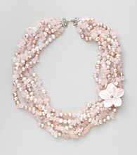 Genuine Pink Freshwater Pearl, Rose Quartz Chips & Mother-of-Pearl Flower Necklace