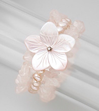 Genuine Freshwater Pearl, Rose Quartz Chips & Mother-of-Pearl Stretch Bracelet