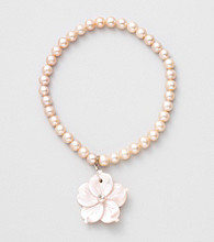 Genuine Freshwater Pearl & Pink Mother-of-Pearl Flower Stretch Bracelet