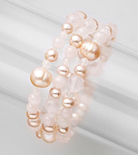 Genuine Freshwater Pearl with Rose Quartz Beads Stretch Bracelet