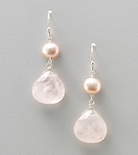 Genuine Freshwater Pearl & Rose Quartz Heart Drop Earrings
