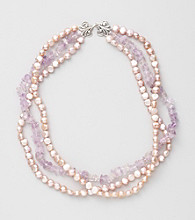 Genuine Freshwater Pearl & Amethyst Chips Necklace