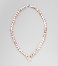 Genuine Freshwater Pearl & Rose Quartz Heart Pendant Necklace