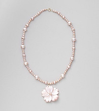 Genuine Freshwater Pearl & Pink Mother-of-Pearl Flower Pendant Necklace