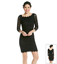 Marina Paisley Lace Overlay Sheath Dress