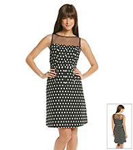 Adrianna Papell® Illusion Neck Dot Fit And Flare Dress