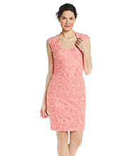 Jax Banded Floral Lace Sheath Dress