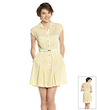 Betsey Johnson® Eyelet Belted Shirt Dress