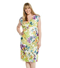 London Times® Plus Size Floral Print Mesh Dress