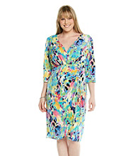 London Times® Plus Size Print Faux Wrap Dress