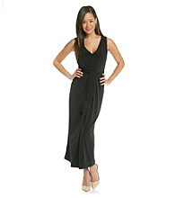 Evan-Picone® Long Sleeveless Self Belt Dress