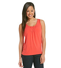Relativity® Career Pleatneck Solid Tank Top