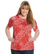 Relativity® Plus Size Short Sleeve Crewneck Bandana Tee