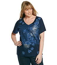 Relativity7reg; Plus Size Short Sleeve V-Neck Stripe Flower Tee