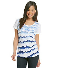 Relativity® Short Sleeve Scoopneck Scribble Sequin Tee