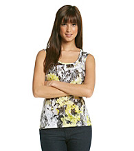 Relativity® Sleeveless Scoopneck Printed Burnout Tank
