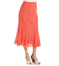 Studio West Stretch Waistband Solid Color Long Swirl Skirt