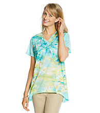Alfred Dunner® Short Sleeve V-Neckline Watercolor Butterfly Shirt