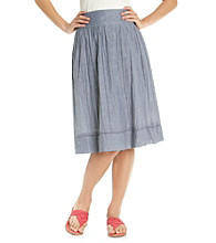 Studio West Stretch Waistband Short Chambray Tuck Waist Skirt