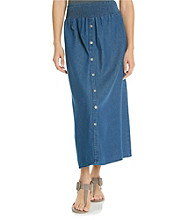 Studio West Stretch Waistband Long Denim Skirt