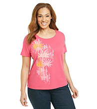 Breckenridge® Plus Size Short Sleeve Embellished Tee