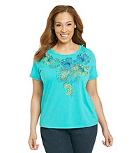 Breckenridge® Plus Size Short Sleeve Crewneck Embellished Tee