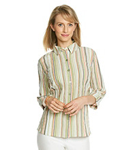 Breckenridge® Roll-Tab Crinkle Woven Striped Buttondown Top