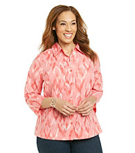 Studio Works® Plus Size Buttondown Ikat Woven Shirt