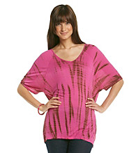 Nine West Vintage America Collection® Dolman Sleeve V-Neck Tie-Dye Tee
