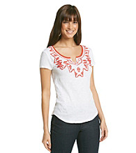 Lucky Jeans® Tanya Short Sleeve Notched Scoopneck Beaded Tee