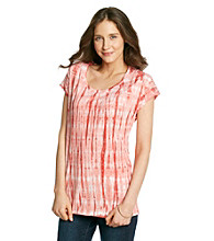 Ruff Hewn Crochet Trim Tie-Dye Side Tie Dolman Top