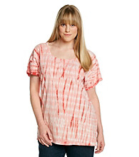 Ruff Hewn Plus Size Crochet Trim Tie-Dye Side Tie Dolman Top