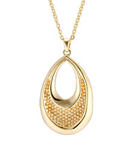 Silver Pltd Gold Flashed Teardrop Pendant On Cable Chain 18