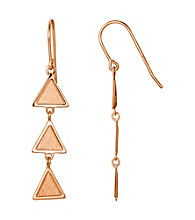 Brass Fine Silver Pltd Rosegold Pltd Ttriangle Wire Drop Earring