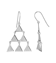 Brass Fine Silver Pltd Rhodium Pltd Triangle Wire Drop Earring