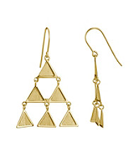 Brass Fine Silver Pltd Gold Pltd Triangle Wire Drop Earring